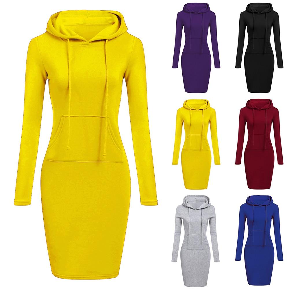 Autumn Winter Women Warm Hooded Sweatshirt Dress New Woman Solid Long Sleeved Mid Dress 2019 Casual Female Pocket Fleece Hoodies