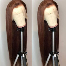 Bombshell Dark Brown Long Straight Hand Tied Synthetic Hair Lace Front Wig Glueless Heat Resistant Fiber Hair For Women Wigs