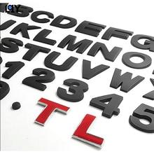 DIY Car Sticker 0-10 Number Letter Digital 26 Alphabet Emblem Badge Motorcycle Decal Auto Decor 3D metal