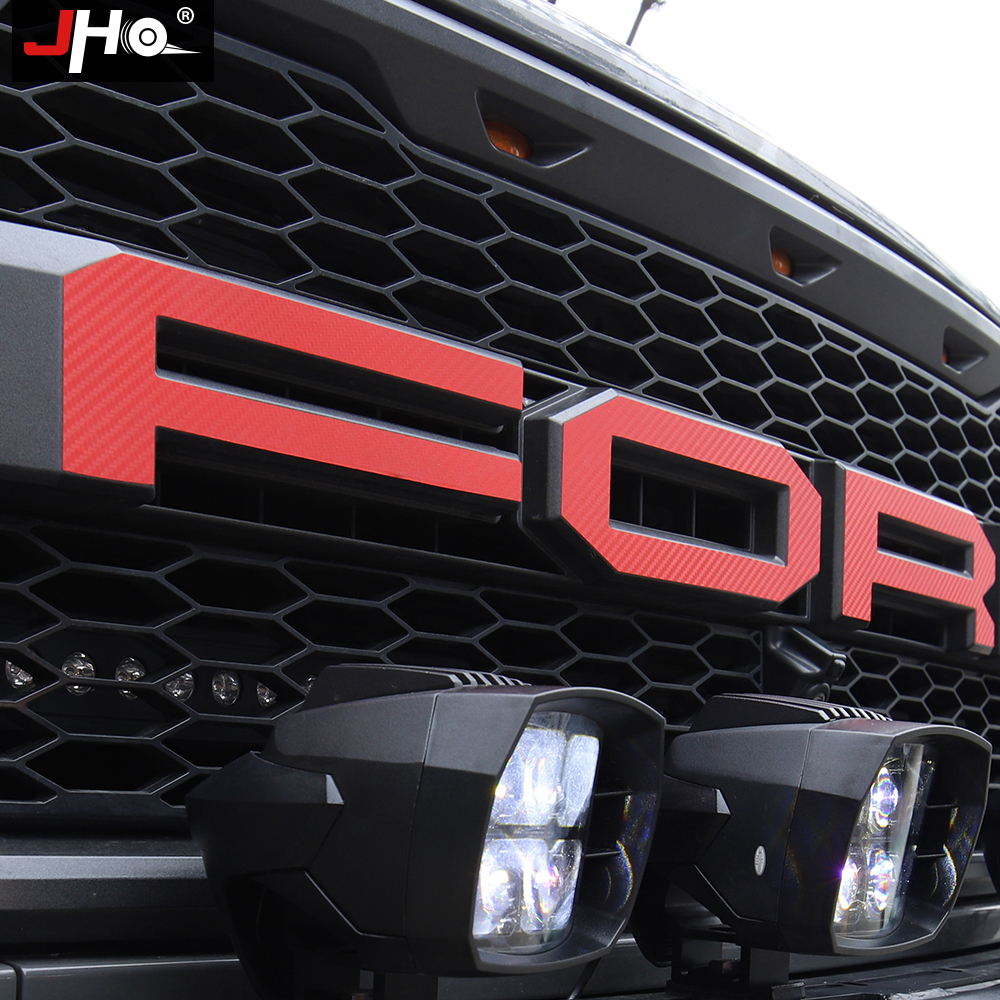 JHO Pickup Accessories Tail Hood Engine Grille Red Letters Sticker Graphics Vinyl Decal For Ford F-150 Raptor 2017-2019 2018