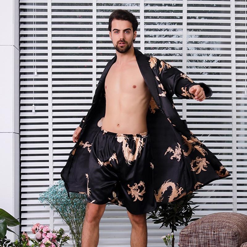 FZSLCYIYI 7XL 6XL 5XL 2Pcs Men Bathrobe Shorts Suit Kimono Home Silk Male Robe Sets Soft Cozy Thin Long Sleeve Bath Gown
