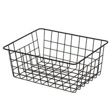 Nordic Iron Art Household Storage Basket Kitchen Bedroom Sundries Snacks Organizer Rack Holder - White/Black