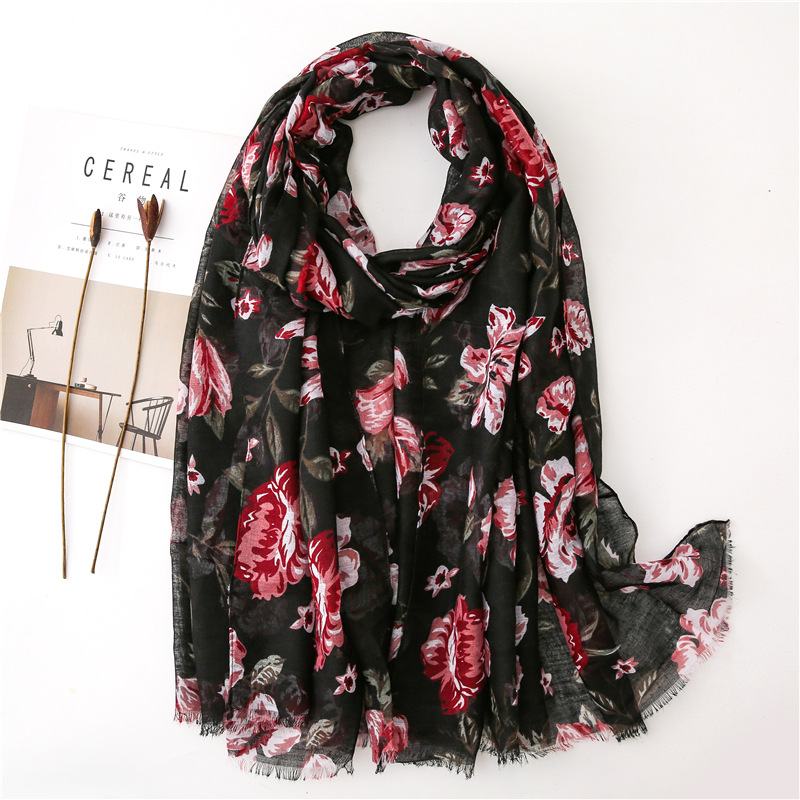 Bufandas Invierno Mujer Women Winter Scarf Female Autumn Israel Style Vintage Long Black Floral Scarfaccesorios Mujer