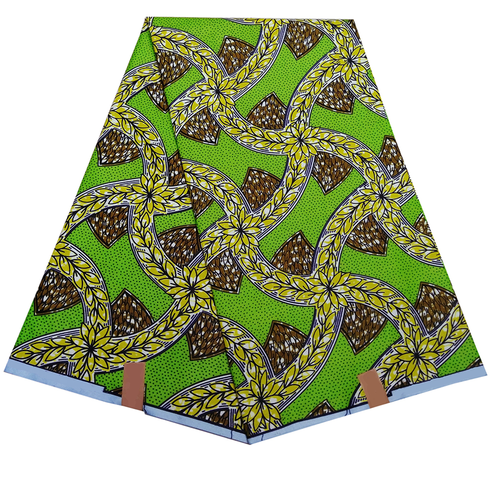 6Yards High Quality Fabric Green African Floral Print Fabric For Women Dress
