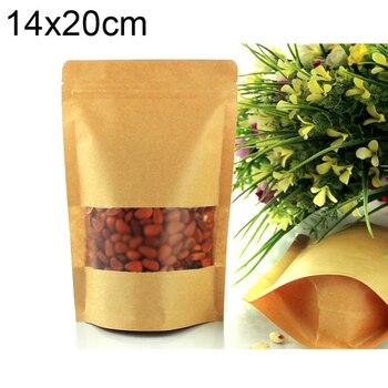Standup kraft paper bag with matt window and zipper for food, paper ziplock bag  14x20x4cm 100pcs/lot