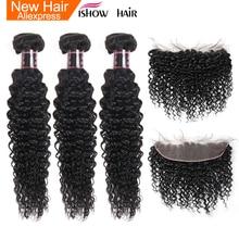 Вьющиеся пряди Ishow с закрытием, индийские волосы, 3 пряди с фронтальной пряди человеческих волос, пряди с фронтальной Non Remy 13X4