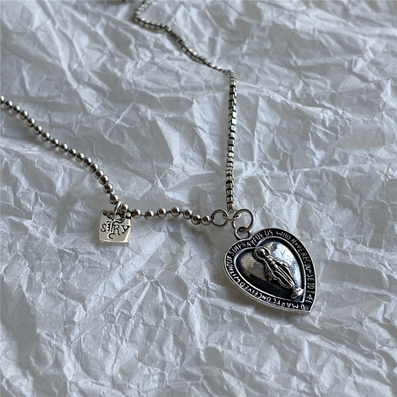 Hf57a9e22b9f647b08e5098cf43a3b874t - POFUNUO 925 Sterling Silver Women Original Design Vintage Do Old Virgin Mary Pendant Necklace Chic Heart Charm Distress Necklace