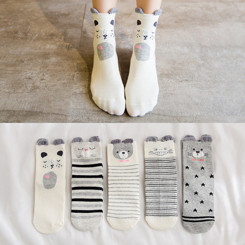 Women Cute Cartoon Star Smile Printing Casual Short Socks HIgh Quality Pure Cotton Ankle Sock For Girls Ladies PD0128
