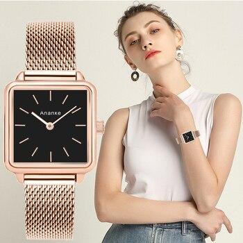 цена на Ananke Luxury Designer Brand Women Casual Dress Quartz Watch Ladies Bracelet Watches Fashion Stainless Steel Uhr Clock 2019