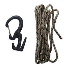 Carabiner, Rope Tightener with Carabiner Clip, Black