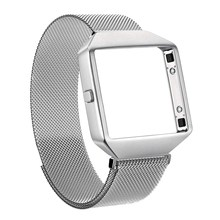 for Fitbit Blaze Metal Character and Picture Frame Watch Strap Milan Nice, Nizza Watch Strap Magnetic Sucker Watch-Button Silver(China)