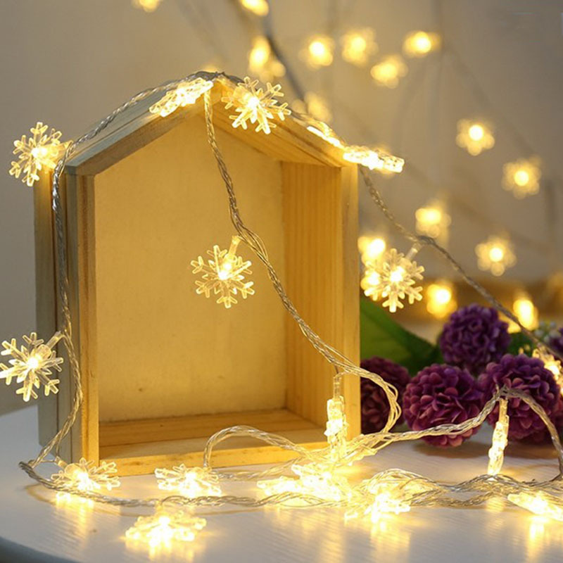 <font><b>10M</b></font> <font><b>100LEDs</b></font> <font><b>220V</b></font> EU PlugSnow Flakes Christmas Garlands LED String Fairy Lights For Xmas Tree Party Garden Wedding Decoration image