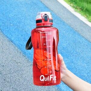 Image 5 - QuiFit 2L 1.3L 450ml ครึ่งแกลลอนขวดน้ำกีฬา Tritan ล็อค Flip Flop Infuser สุทธิ clear ดื่มขวด