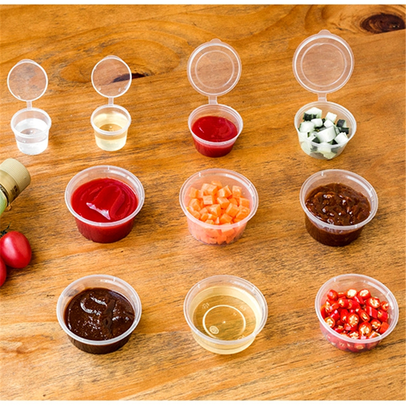 30pcs/Set 30ml 50ml 100ml Disposable Plastic Takeaway Sauce Cup Containers Food Box With Hinged Lids Pigment Paint Box Reusable