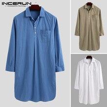 INCERUN Fashion Cotton Men Robes Sleepwear Long Sleeve Loose Solid Leisure Lapel Homewear Bathrobe Comfortable Nightgown Dress