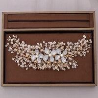 New Handmade Gold Flower Crystal Bridal Hair Combs Women Head Decoration Wedding Hair Accessories Head Piece Hair Jewelry