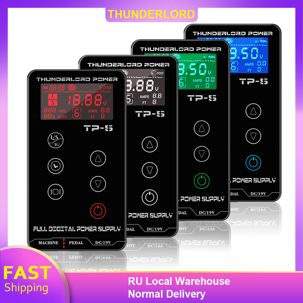 THUNDERLORD Digital Tattoo Power Supply LCD Touch Screen Dual Tattoo Power Box For Coil & Rotary Pen Machine Tattoo Supplies
