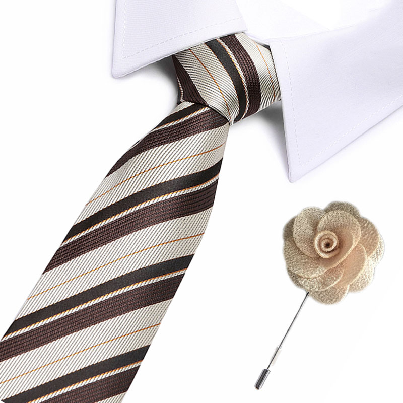 New 100% Silk Men's Ties Striped  Neck Ties 7.5cm Ties With Flower Pin For Men Formal Business Wedding Party Neckties