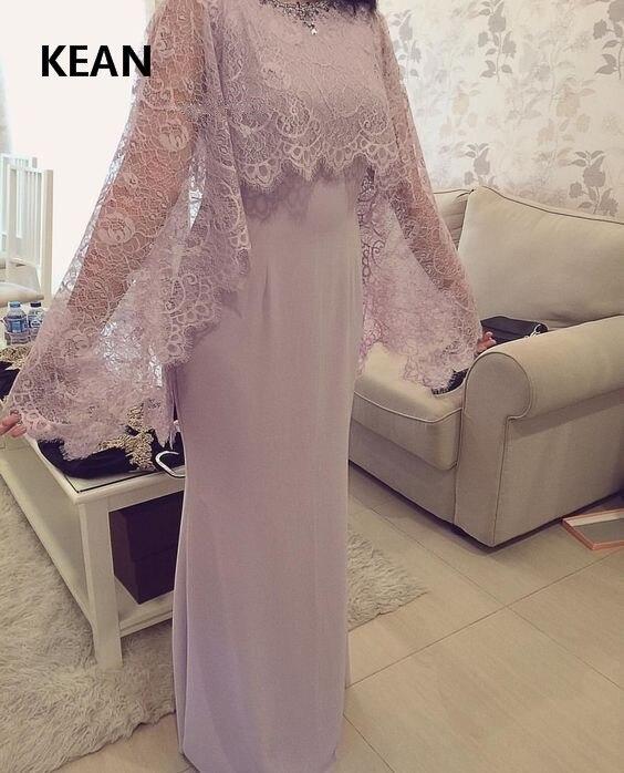 Pink Muslim Evening Dress Satin Jacket Mermaid Applique Floor Length Islamic Dubai Kaftan Saudi Arabic Prom Dress Vestidos