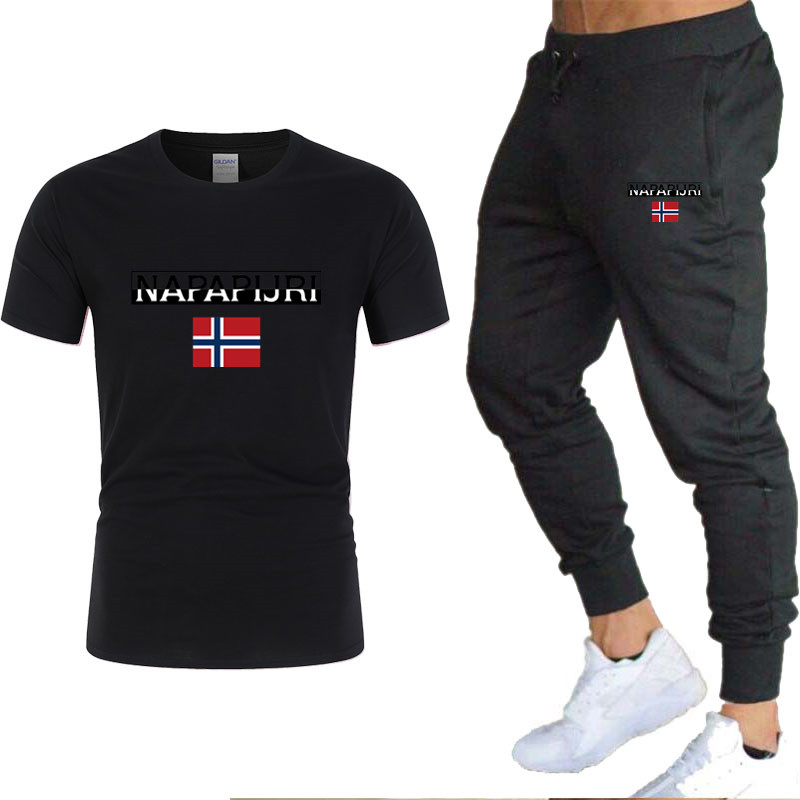 Summer Men's Hot New Print T-shirt + Trousers 2020 Men's Casual Sports Fitness Gym Running Jogging Explosions Casual Sportswear