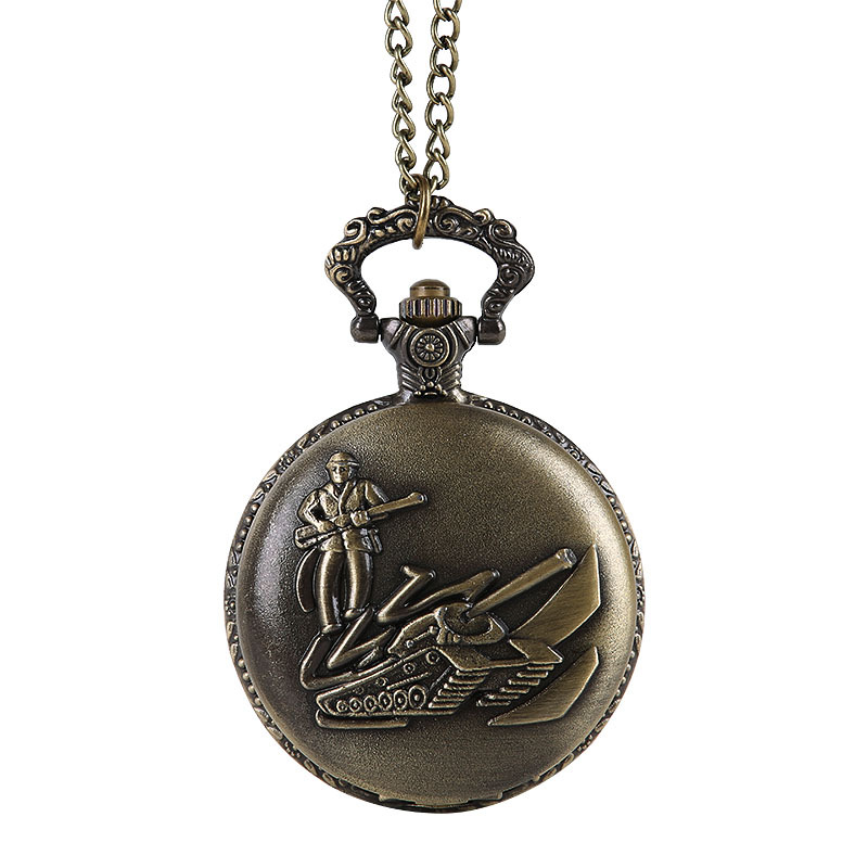Bronze Classic Soldier Tank Car Pocket Watch Large Classical Military Style Soldier Embossed Pocket Watch