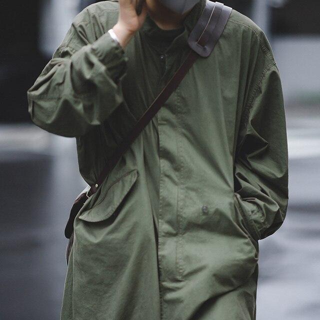 Veste homme Maden hommes Vintage M51 queue de poisson armée vert et Camel Trench manteau tissé taille corde mi-longue surdimensionné ample militaire manteau 1