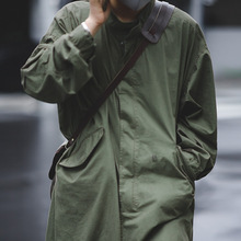 Maden Men's Vintage M51 Fishtail Army Green And Camel Trench Coat Woven Waist Rope Mid-length  Oversized Loose Military Coat