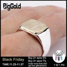 New Arrival 925 Sterling Silver mężczyźni pierścień prosty elegancki złoty kolor kwadratowy szczotkowana powierzchnia Vintage pierścień dla kobiet mężczyzn biżuteria
