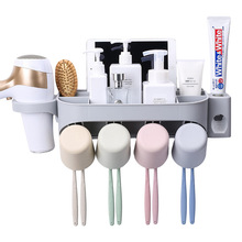 Yooap Bathroom Wall-mounted punch-free toothbrush holder washstand Shelf Rake cup set automatic toothpaste