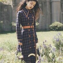 Новая модная женская одежда осеннее и зимнее винтажное клетчатое платье