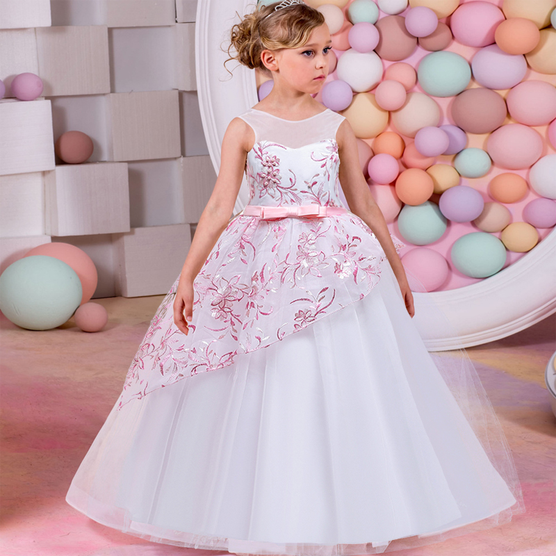 2019   Girl     dress   first comunion for   girl   kids elegant princess wedding   flower     girl     dress   baby child clothes baby costume vestido