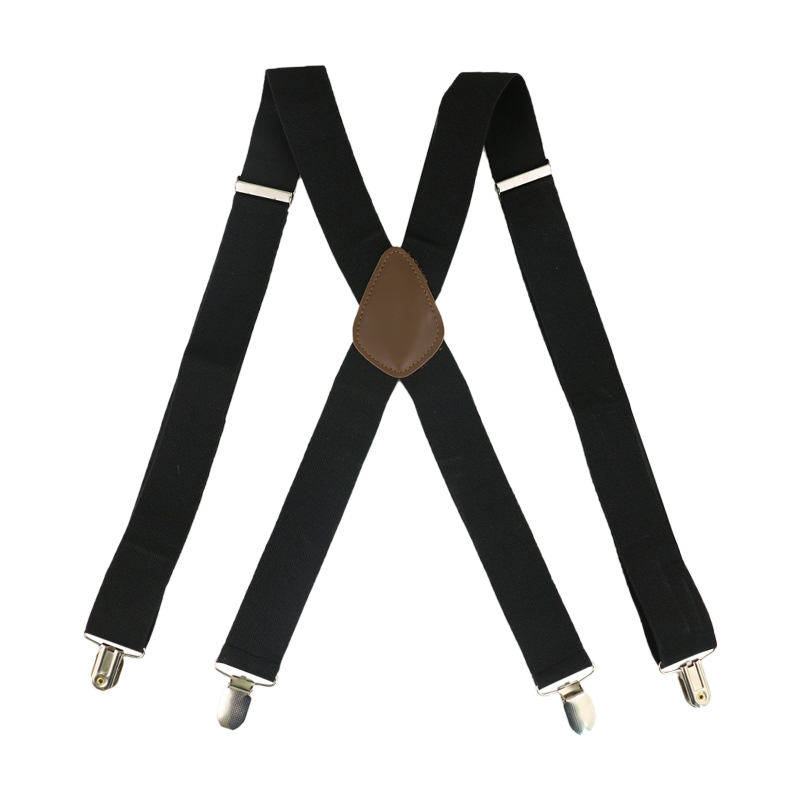 HUOBAO Red Black White 3.5cm Wide Men's Suspenders X-Shape Trousers  Man Braces Strap Men Braces 4 Clip Elastic Male Suspenders