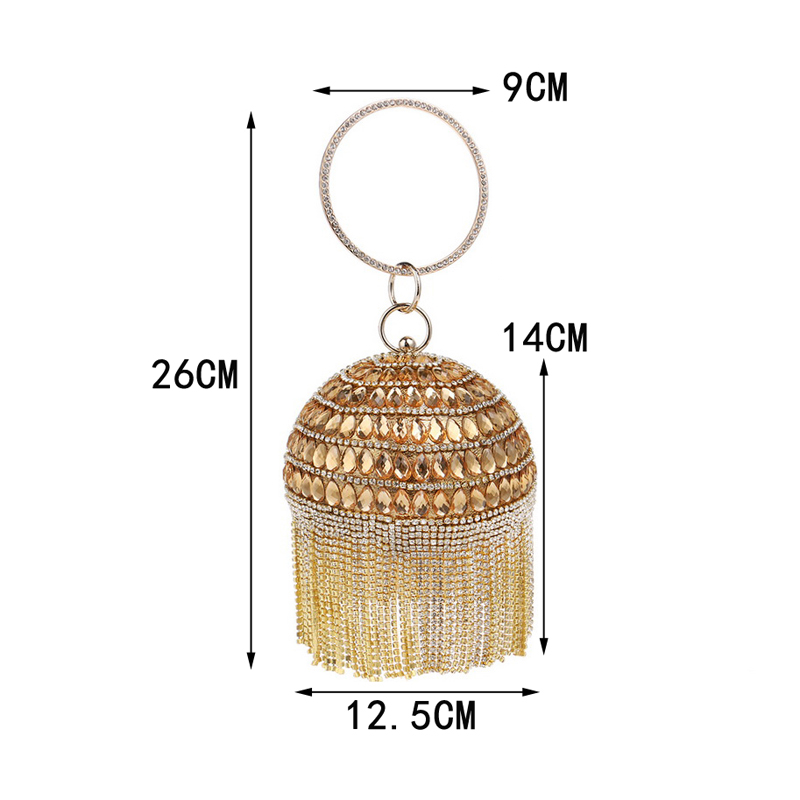Image 5 - SEKUSA Ball Diamond Tassel Women Party Metal Crystal Clutches Evening  Wedding Bag Bridal Shoulder Handbag Wristlets ClutchClutches   -