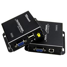 Extensor USB VGA KVM 300m 1080P 60Hz largo alcance 984ft sobre Cat5e Cat6 Ethernet Cable VGA Extender (hasta 300m, emisor + receptor)