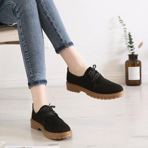 Image 4 - 2020 סתיו חדש נעלי נשים שטוח מרטין מגפי נעליים יומיומיות אישה האופנה אוקספורד רטרו אלגנטי שרוכים החלקה