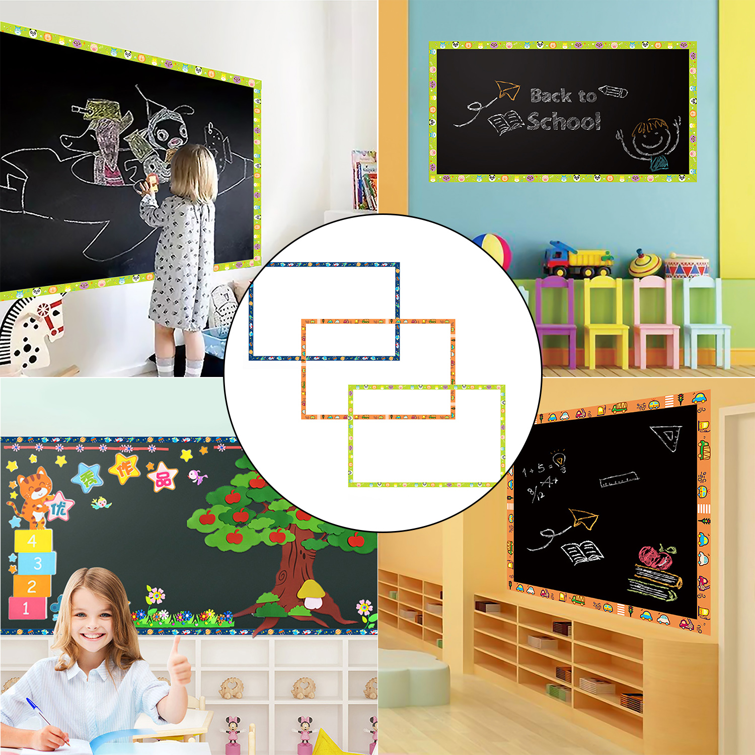 Bulletin Board Borders Decorative Trimmer Stickers Home Classroom Party Decoration For Black Board Chalkboard Whiteboard