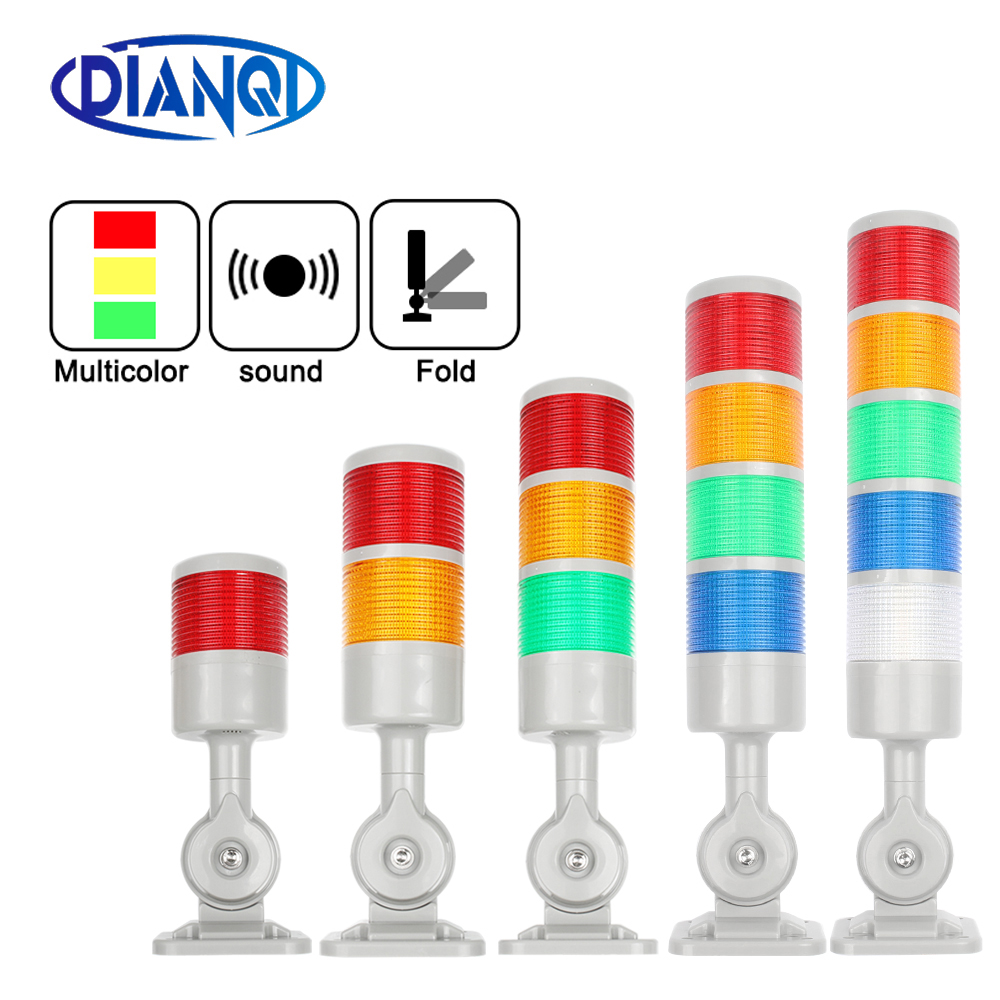 Rotatable 180 Stack light Red Orange amber Green warning light industrial for CNC machine DC 24V 12V Steady flashing light LED(China)