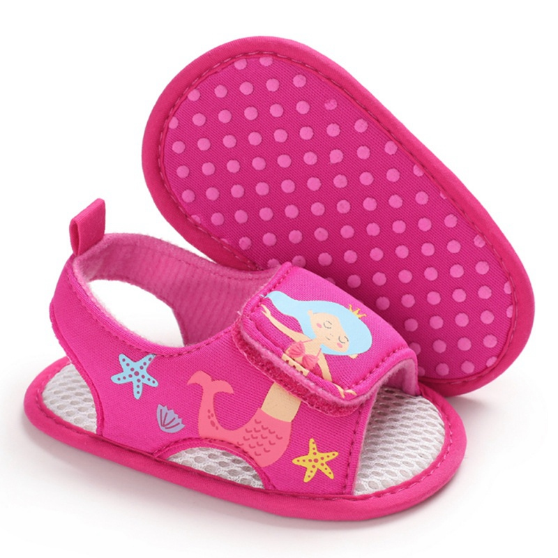 Baby Girls Print Sea Princess Breathable Anti-Slip Summer Shoes Sandals Toddler Soft Soled First Walkers Shoes 2020