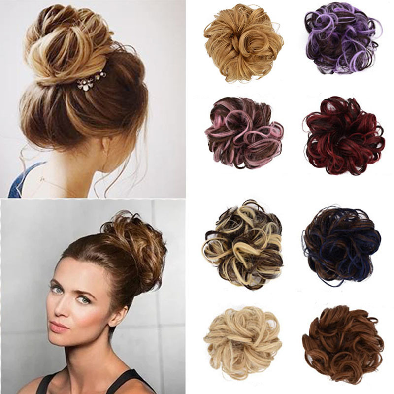 1PC Women's Fashion Curly Wave Synthetic Hair Bun Chignon Hair Accessories Hairpieces Tail Hair Elastic Headwear