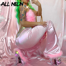 ALLNeon E-girl Sweet Hot Pink Slim High Waist Pants with Feather Vintage Autumn Rave Festival Party Flare Pant Y2K Trousers 2020