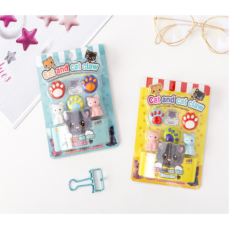 5pcs/set Cute Eraser Kitten Rubber Kids Gifts School Supply For Students Stationery Novelty Item Cat Claw New Arrival