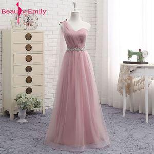 Image 2 - Heißer V Neck Brautjungfer Kleider lange für Frauen Elegante 2020 EINE Linie Sparkly Tüll Rosa Party Kleid für Hochzeit Party plus Größe