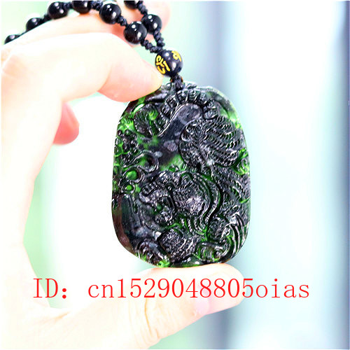 Chinese Natural Black Green Jade Tiger Pendant Beads Necklace Charm Jewelry Obsidian Accessories Carved Amulet Gifts For Men Her