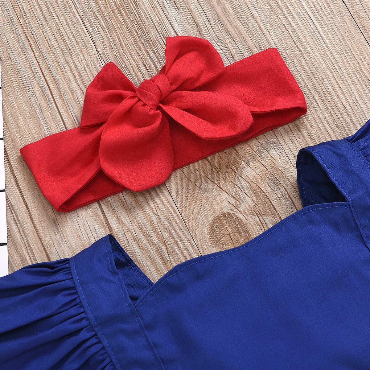 Salopette d'été pour bébé 0-24M, barboteuse filles à volants, manches courtes, avec nœud papillon, 2 pièces avec bandeau