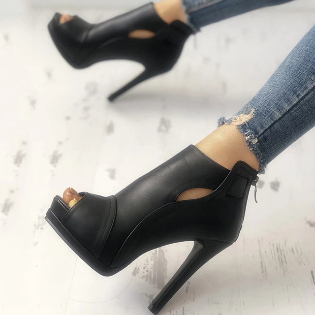 New Women summer Thin High Heels 11cm Zipper Peep Toe gladiator pumps office sandals party shoes 4