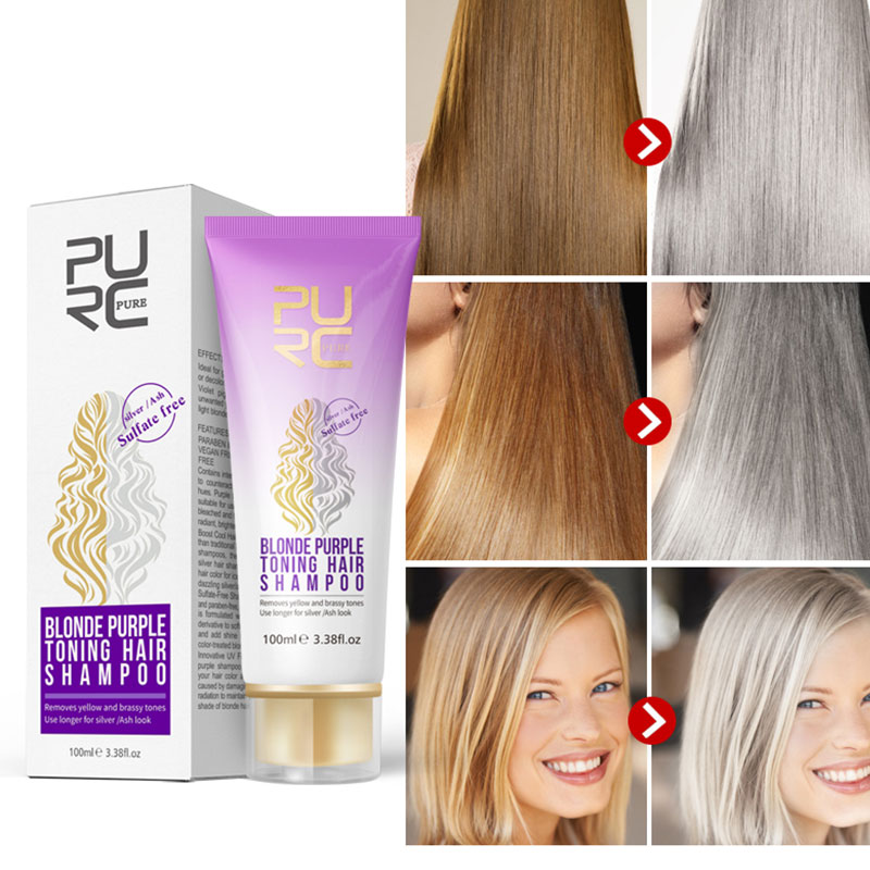 Women Blonde Bleached Highlighted Shampoo Revitalize Effective Purple Shampoo For Blonde Hair Shampoos image