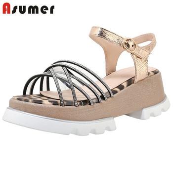 ASUMER 2020 hot sale platform sandals women genuine leather shoes crystal pvc leopard casual summer wedges shoes ladies sandals