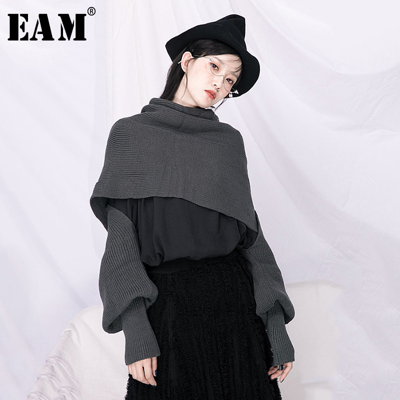 [EAM] Ways Wear Big Size Knitting Sweater Loose Fit Round Neck Long Sleeve Women Pullovers New Fashion Tide Spring 2020 1N688