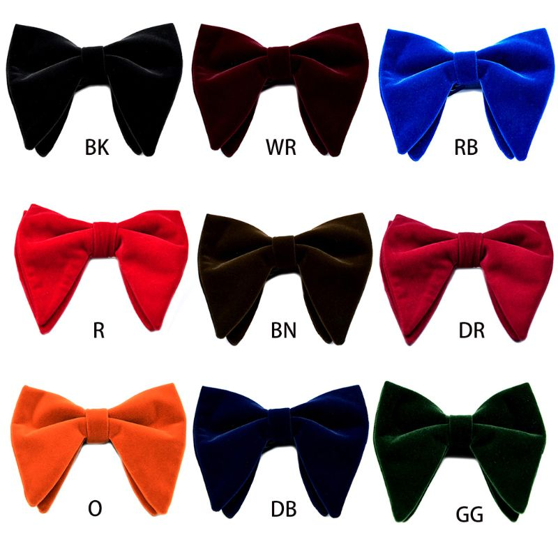 Men's Velvet Vintage Double Layer Pre-Tied Handmade Bow Tie Glitter Solid Color Tuxedo Big Oversized Adjustable Length Necktie