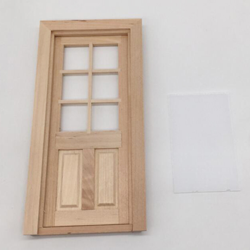 1/12 Dollhouse Miniature Wood External Single Door Unpainted DIY Accessories